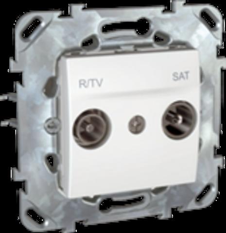 Розетка R-TV/SAT одиночная. Цвет Белый. Schneider electric Unica. MGU5.454.18ZD