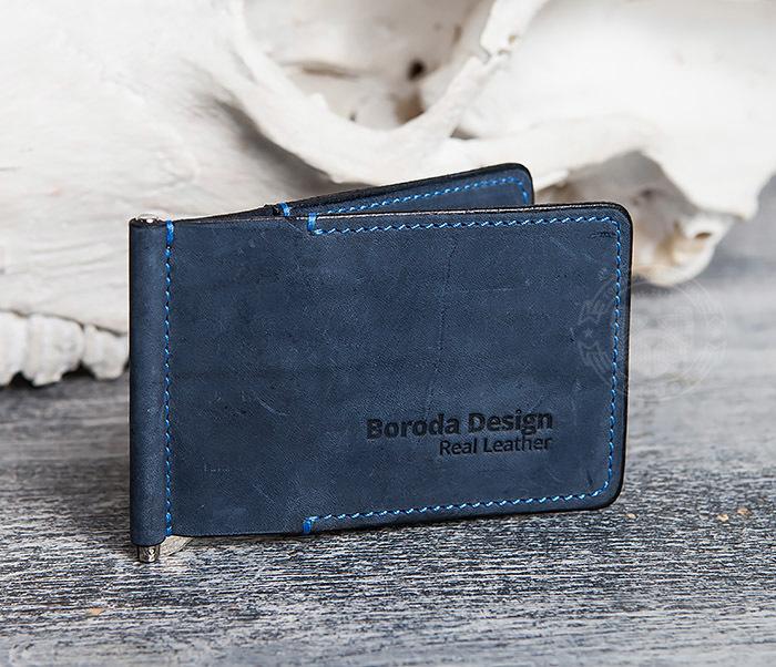 WB108-5 Зажим для денег из натуральной кожи джинсового цвета. «Boroda Design»