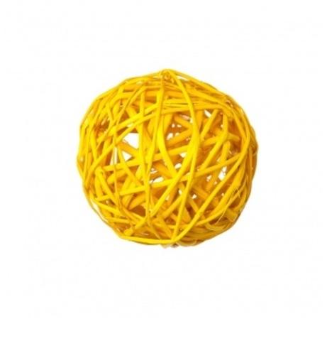 Плетеные шары из ротанга (набор:6 шт., d8см, цвет: желтый)