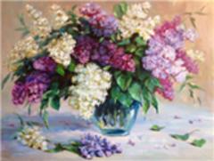 Картина раскраска по номерам 40x50 Букет из белой и фиолетовой сирени в круглой прозрачной вазе