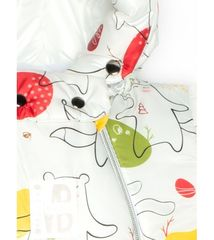 MalekBaby. Комбинезон-конверт трансформер с помпоном, медведь и заяц на белом
