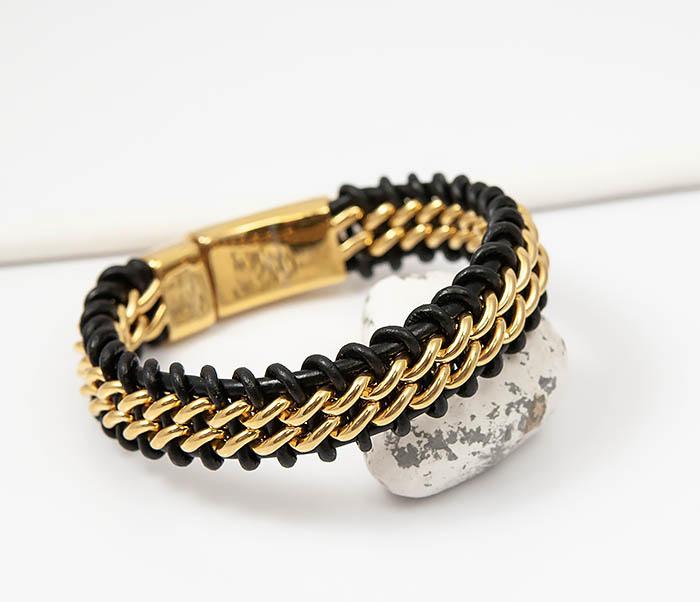 BM500-2 Мужской браслет из стали золотистого цвета и кожи (22 см) фото 05