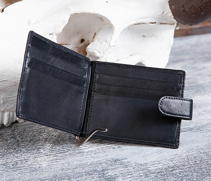 WL308-1 Мужской зажим для денег из черной кожи фото 06