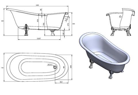 Схема ванны из литьевого мрамора Castone Даллас 170x82