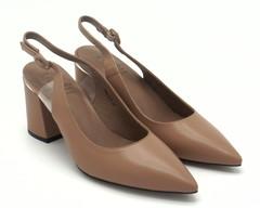 Босоножки кожаные на устойчивом каблуке