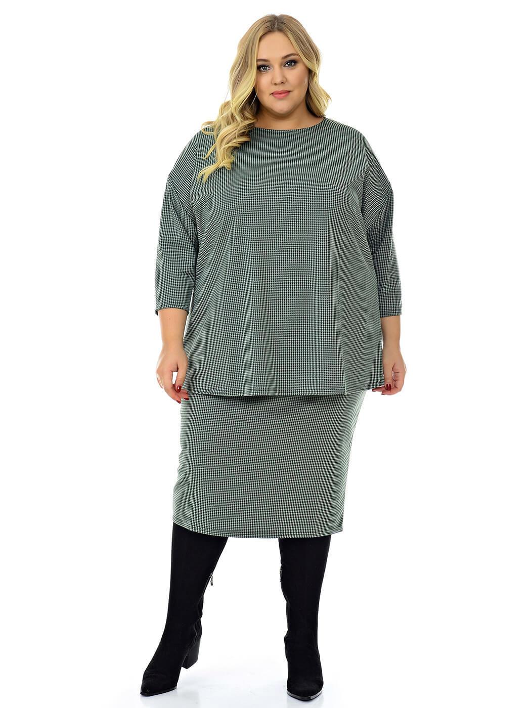 Блуза свободная из джерси оливковая