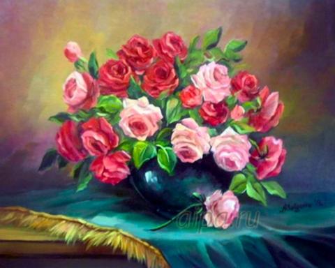Алмазная Мозаика + Багет 40x50 Букет из розовых и красных роз в черной вазе (арт. DA-1294)
