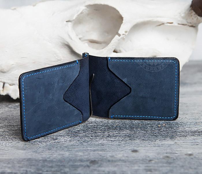 WB108-5 Зажим для денег из натуральной кожи джинсового цвета. «Boroda Design» фото 03