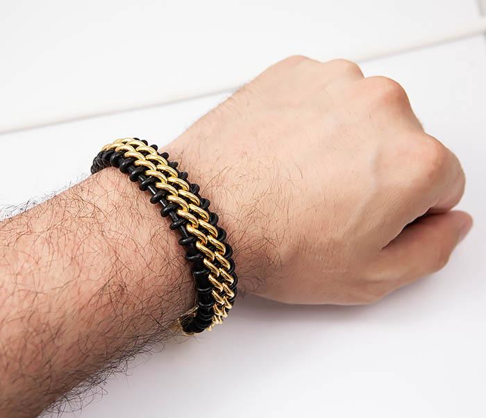 BM500-2 Мужской браслет из стали золотистого цвета и кожи (22 см) фото 06