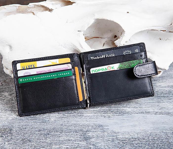 WL308-1 Мужской зажим для денег из черной кожи фото 07