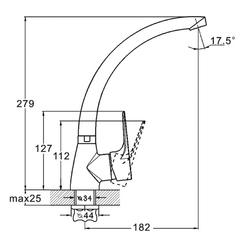 Фото размер однорычажного смесителя для кухни Zegor SOP4-B (Z83-SOP8)
