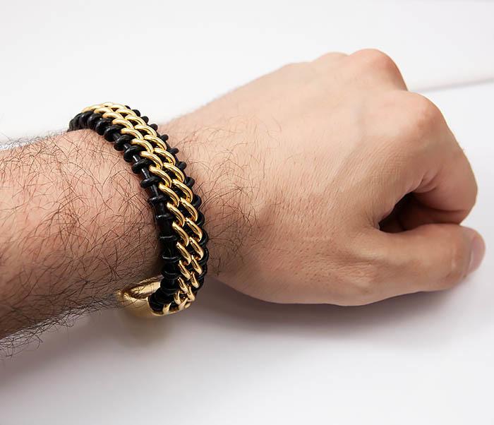 BM500-2 Мужской браслет из стали золотистого цвета и кожи (22 см) фото 07