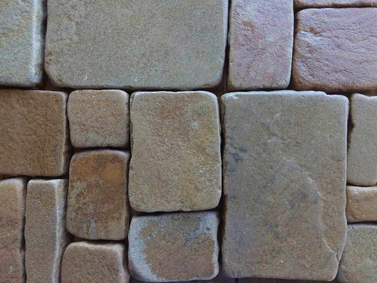 набор Брусчатки песчаник колото-галтованный Ясень, пример кладки