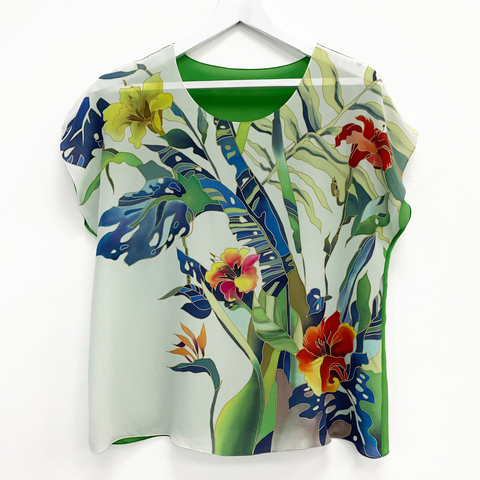 Шелковая блузка батик Тропики