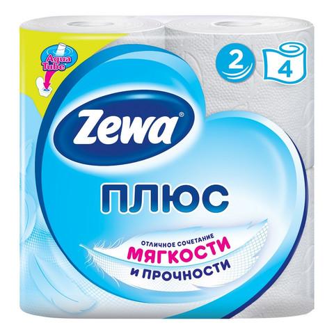 Бумага туалетная Zewa Плюс 2-слойная белая (4 рулона в упаковке)
