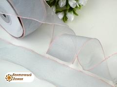 Органза серая со светло-розовой каймой 38 мм