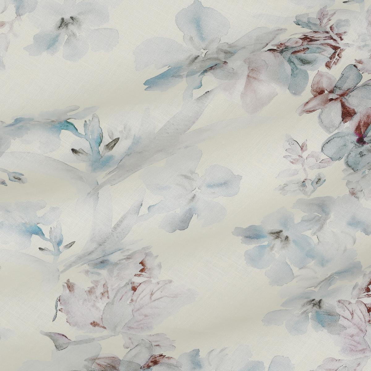 Льняное набивное полотно в акварельные цветы