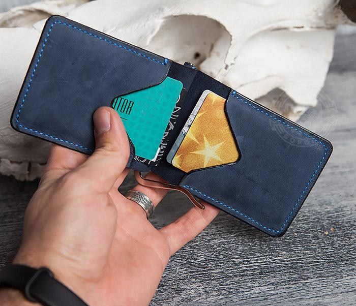 WB108-5 Зажим для денег из натуральной кожи джинсового цвета. «Boroda Design» фото 05