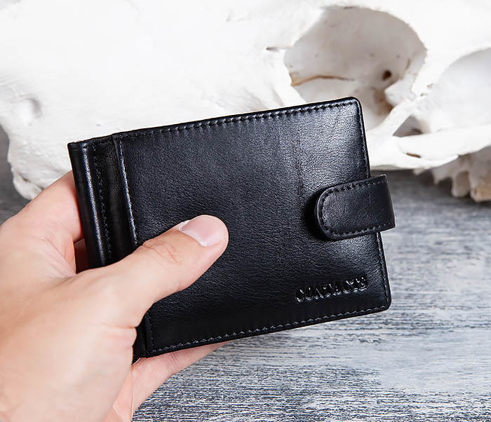 WL308-1 Мужской зажим для денег из черной кожи фото 10