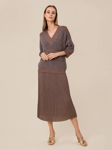 Женская юбка-плиссе коричневого цвета из вискозы - фото 2