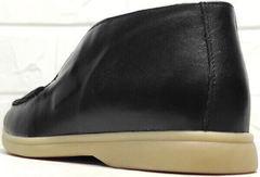 Черные лоферы женские полуботинки без каблука Rozen 6023+1 «Loro Piana».