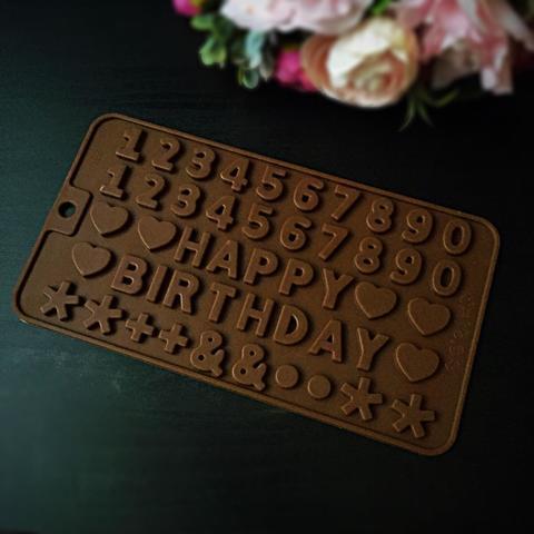 Силиконовая форма для шоколада  Мини буквы HAPPY BIRTHDAY и ЦИФРЫ (25х25мм)