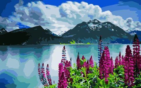Картина раскраска по номерам 40x50 Вид на горы и фиолетовые цветы