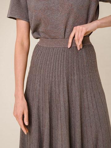 Женская юбка-плиссе коричневого цвета из вискозы - фото 5