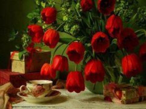 Алмазная Мозаика 30x40 Ярко красные маки на столе (Арт. MHZM1089 )