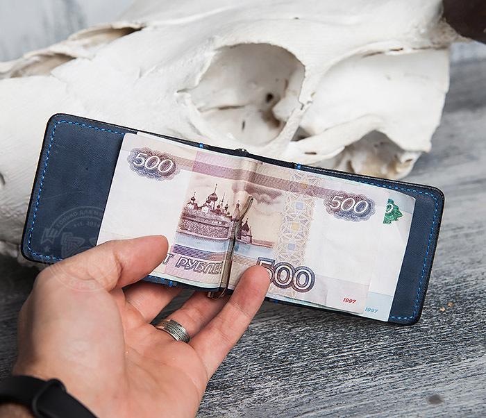 WB108-5 Зажим для денег из натуральной кожи джинсового цвета. «Boroda Design» фото 07