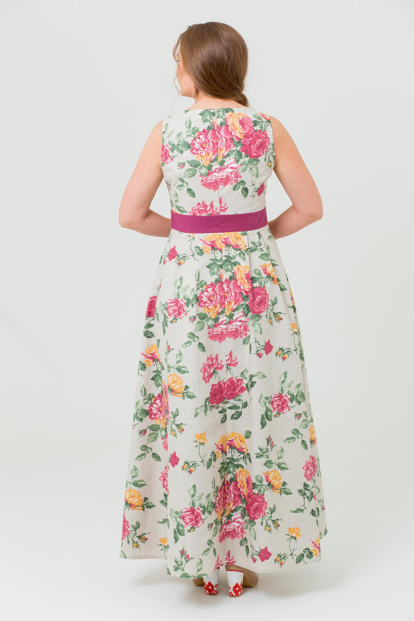 Платье льняное Вальс цветов с цветами