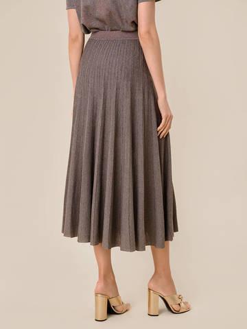 Женская юбка-плиссе коричневого цвета из вискозы - фото 3