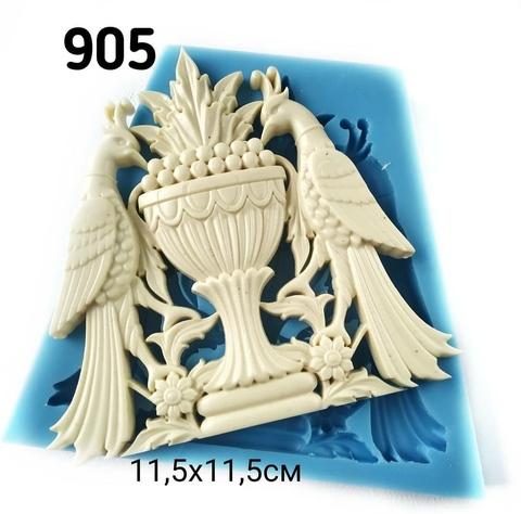 Молд птицы с вазоном 11,5х11,5, Арт.PO-0905, силикон