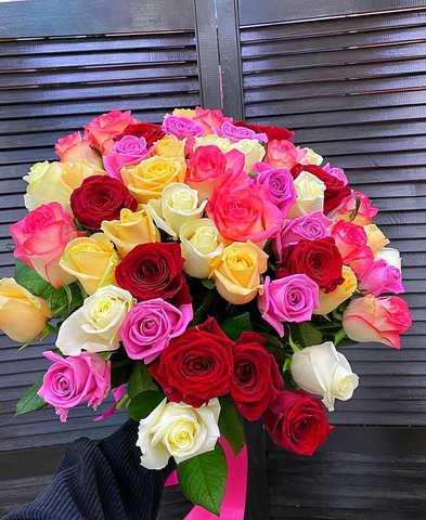 Букет из 51 голландской розы 50 см ( цвет роз на выбор ) #12223