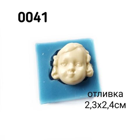 0041 Молд силиконовый. Лицо для куклы. Девочка с бантиками