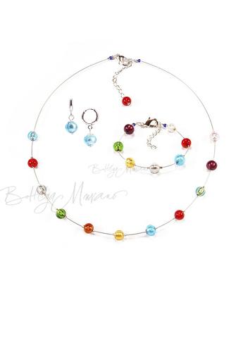 Комплект Estate серебристый (серьги голубые Piccolo, ожерелье короткое, браслет)