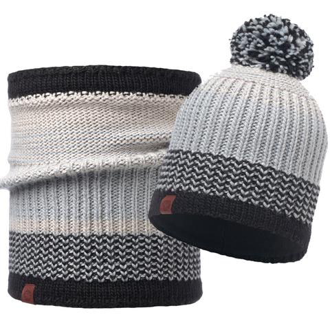 Комплект шапка шарф вязаный с флисом Buff Borae Grey 1 фото 1