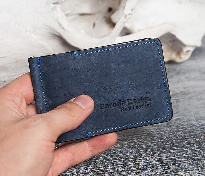 WB108-5 Зажим для денег из натуральной кожи джинсового цвета. «Boroda Design» фото 08