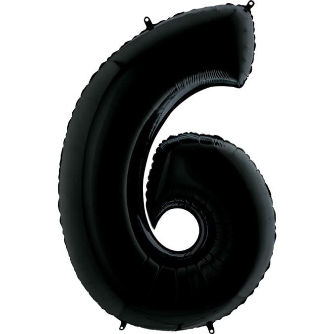 Фольгированная цифра 6, черный