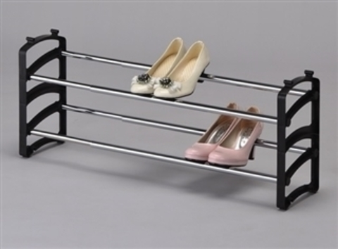 Подставка для обуви 2 полки SR 1067-BK черный/хром