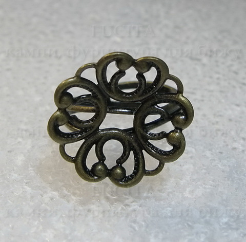 "Основа для кольца ""Ажурный цветок"" (цвет - античная бронза) ()"