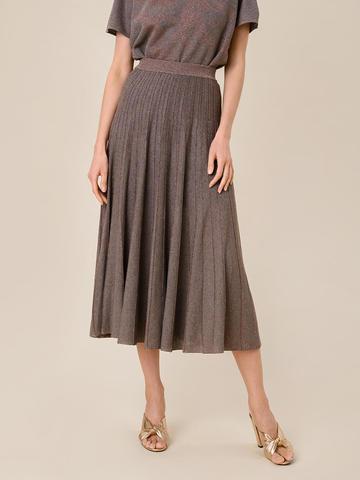 Женская юбка-плиссе коричневого цвета из вискозы - фото 4