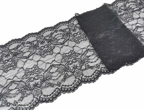 Эластичное кружево, ОПТ, 21,5 см, черное, (Арт: EK-2156), м