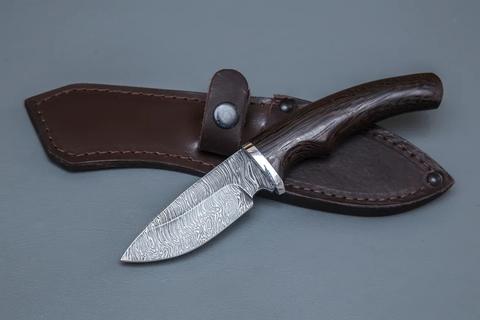 Нож-шкуродёр Крот, дамасская сталь, венге