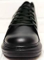 Кожаные кеды женские кроссовки черные EVA collection 0721 All Black.
