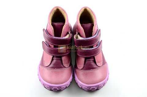 Ботинки Тотто из натуральной кожи на байке демисезонные для девочек, цвет фиолетовый. Изображение 8 из 11.