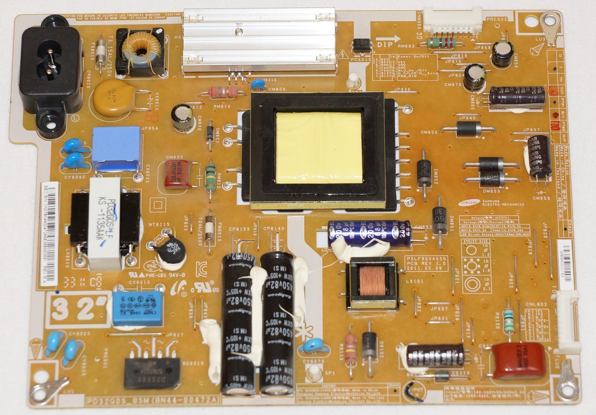 BN44-00472A PSLF800A03S блок питания телевизора Samsung