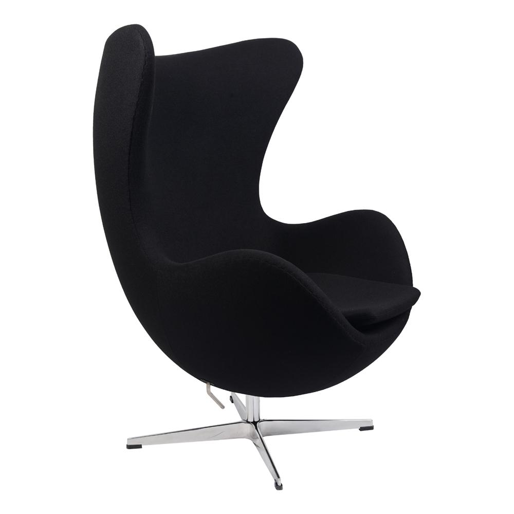 Кресло Arne Jacobsen Style Egg Chair черная шерсть - вид 1