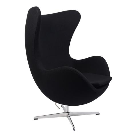 Кресло Arne Jacobsen Style Egg Chair черная шерсть