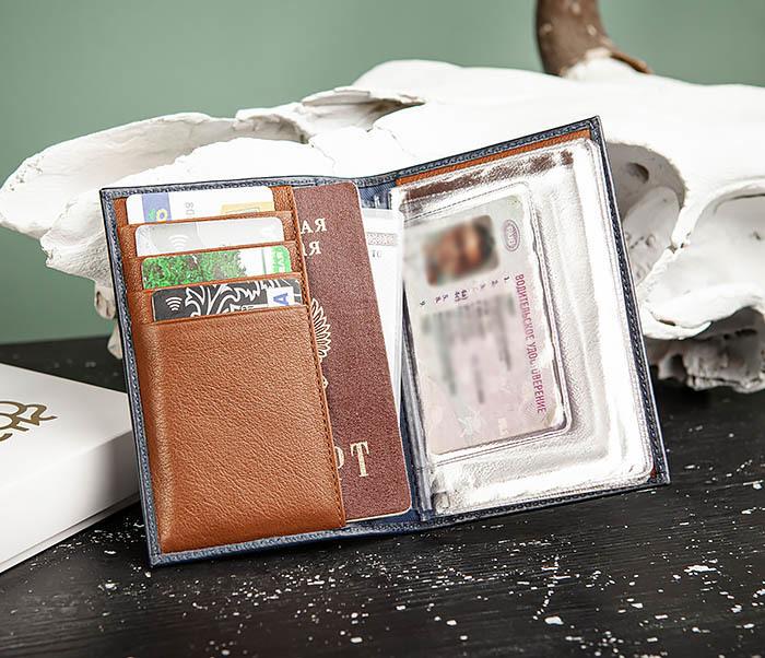 BC217-3 Кожаная обложка для авто документов и карточек «Moriz», синяя фото 05